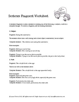 sentence fragments worksheets quizzes and answer keys by laura torres. Black Bedroom Furniture Sets. Home Design Ideas