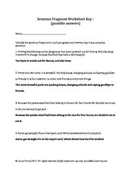 Sentence Fragments - Worksheets, Quizzes and Answer Keys ...
