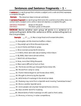 Sentence Fragments and Kinds of Sentences. 7 grammar worksheets. Grade 6 and 7