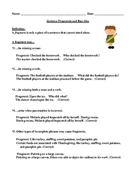 Sentence Fragments and Run-Ons Definitions and Examples for Elementary School