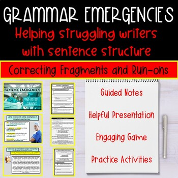 Sentence Fragments and Run-ons: Lesson, Game, Guide, and Worksheets