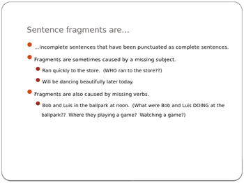 Sentence Fragments and Simple, Compound, and Complex Sentences PPT