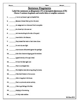 Sentence Fragments (identification practice)