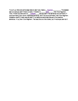 Sentence Fragments (key)