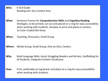 Sentence Frames Set of Teaching Task Cards with Prompts - Reading Strategies -