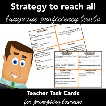 Sentence Frames Set of Teacher Task Cards with Prompts - Reading ...