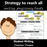 WRITING STRATEGY: Student Sentence Frames for Writing - Table Tents