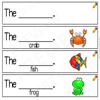 Sentence Frames*Sentence Starters Differentiated- Sight Word Set: The