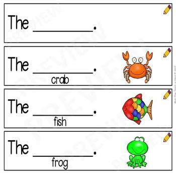 Sight Word Sentence Frames *Sentence Helpers *Sentence Starters- Word Set: the
