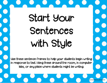 Sentence Frames: Start Your Sentences with Style
