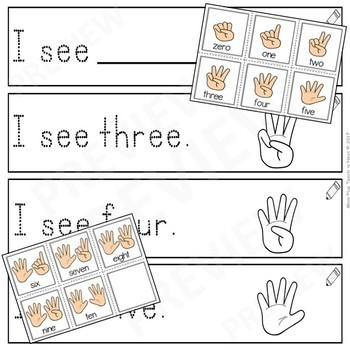 Sight Word Sentence Frames- I See Writing Number Words to 10