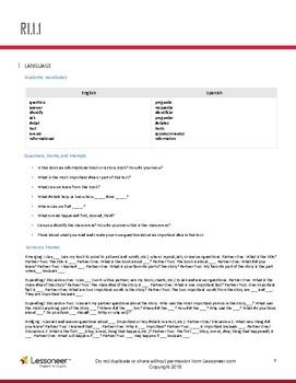Sentence Frames, Vocab, & More for 1st ELA Reading: Informational Text Standards