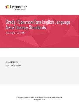 Sentence Frames, Vocabulary, and More for 1st ELA Reading: Literature Standards