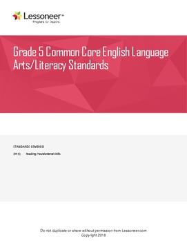 Sentence Frames, Vocab & More for 5th ELA Reading: Foundational Skills Standards