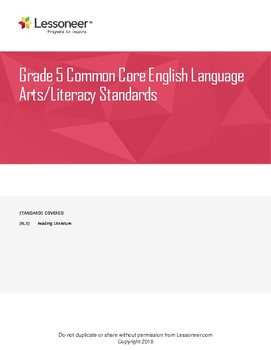 Sentence Frames, Vocabulary, and More for 5th ELA Reading: Literature Standards