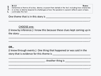 Sentence Frames for ALL Common Core Literature Standards, 5th grade