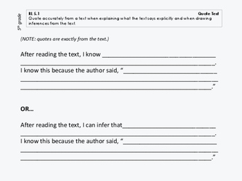 Sentence Frames for ALL Common Core Literature Standards, 5th grade