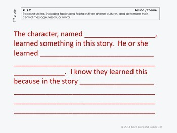Sentence Frames for Difficult 2nd grade Common Core Literature Standards