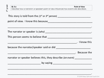 Sentence Frames for Difficult 5th grade Common Core Literature Standards