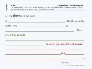 Sentence Frames for Difficult Common Core Literature Standards Bundle, gds 2-5