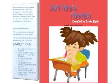 Sentence Frames for Little Writers