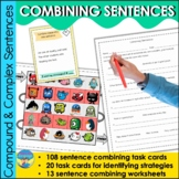 Combining Sentences Task Card Activities for Compound and Complex Sentences