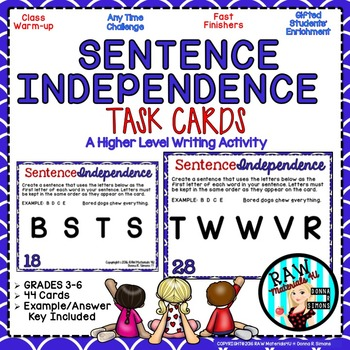 Sentence Independence - A Higher Level Writing Activity