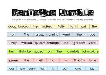 Sentence Jumble By Miss Riley S Little Legends Tpt