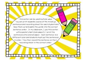 Sentence Mix-Up Literacy Center