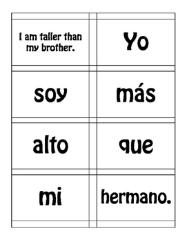 Spanish Comparisons Sentence Mixer