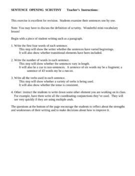 Sentence Opening Scrutiny--great revising tool
