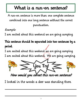 Sentence Pack Common Core Aligned Sentences Fragments And Run On Sentences