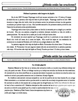 Sentence-Paragraph WarmUps - SPANISH