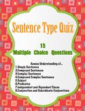 Sentence Part and Type Assessment Quiz