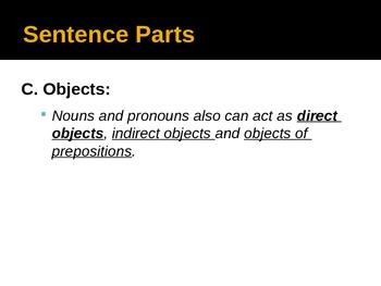 Sentence Parts Power Point Presentation