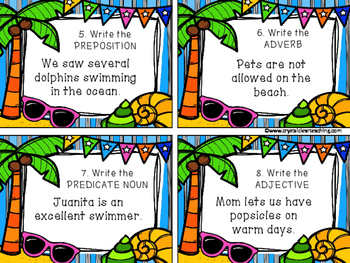 Sentence Parts Review Task Cards - Summer Themed