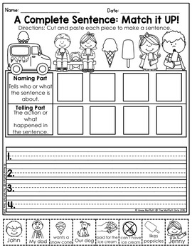 Sentence Parts (Subject and Predicate) NO PREP Packet
