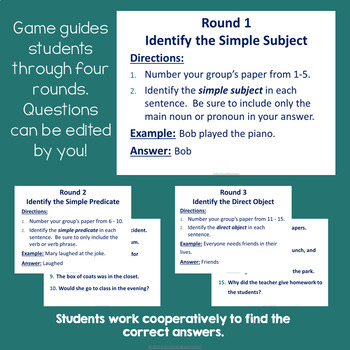 Sentence Parts (Subjects, Predicates & Objects) Trashketball Review Game