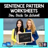 Sentence Patterns Grammar Worksheets   Back to School