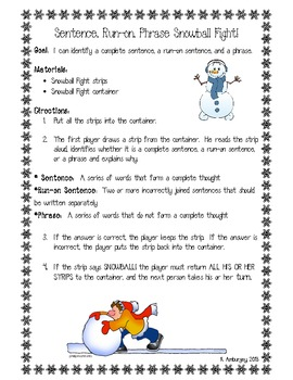 Sentence, Phrase, and Run-on Snowball Fight!