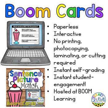 Sentence Picture Match Boom Cards (Digital Task Cards) for 1st and 2nd Graders