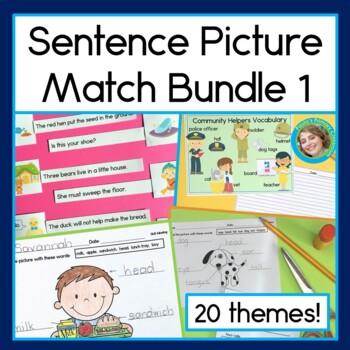 Sentence Picture Match Bundle #1: 20 Reading Centers