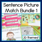 Sentence Picture Match Reading Centers for 20 themes Bundle 1
