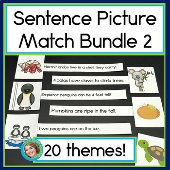Sentence Picture Match Bundle #2 : Reading Centers for 20 popular themes