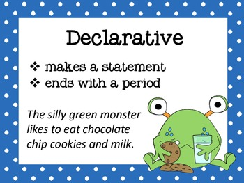 Sentence Posters Polka Dot Monster Theme