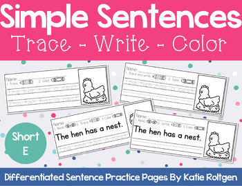 Sentence Practice Pages (Short E)