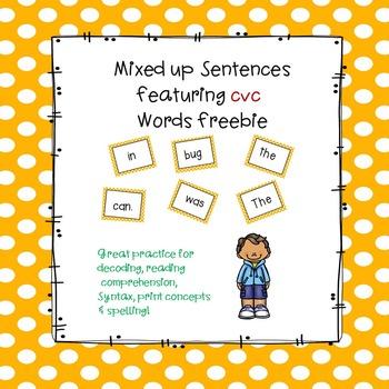 Sentence Practice With CVC Words Freebie