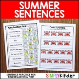 Sentence Practice for Kindergarten - Summer