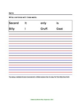 The Three Billy Goats Gruff - Sentence Practice