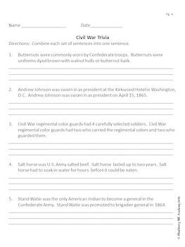Sentence Practice with Civil War Trivia